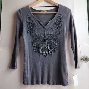 NEW ONE WORLD Gray Floral Rhinestone 3/4 Sleeve